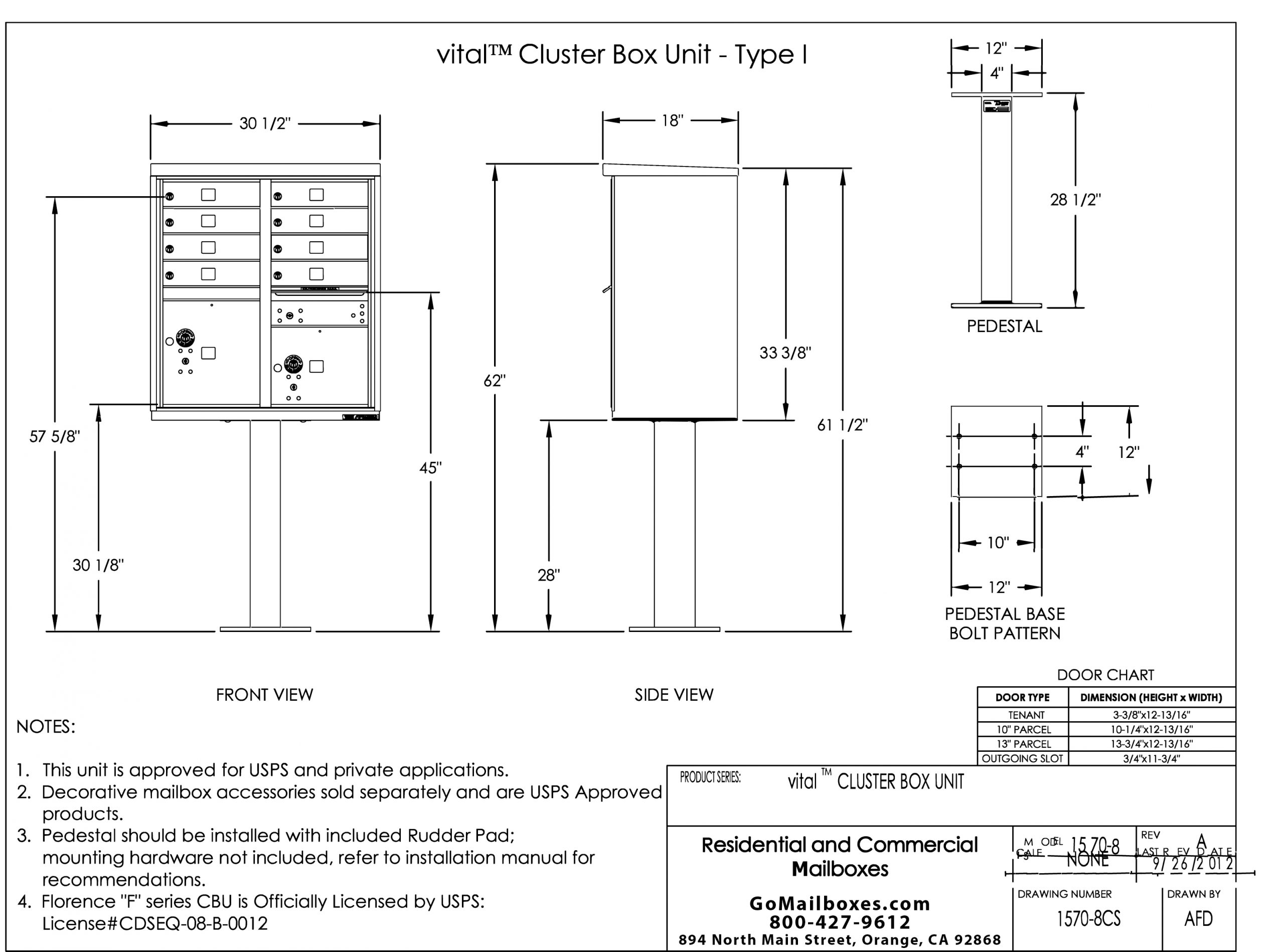 Florence 8 Door CBU Product Dimensions