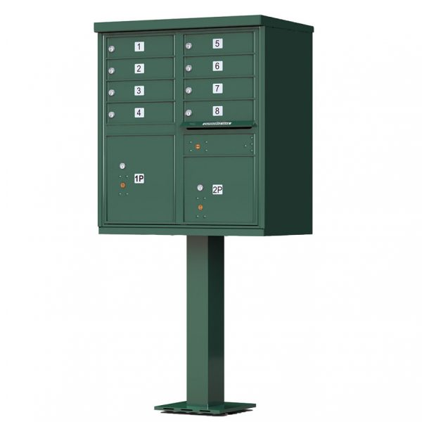 8 Door Florence Vital 1570-8 Series USPS Approved (CBU) Cluster Mailboxes with Pedestal Green