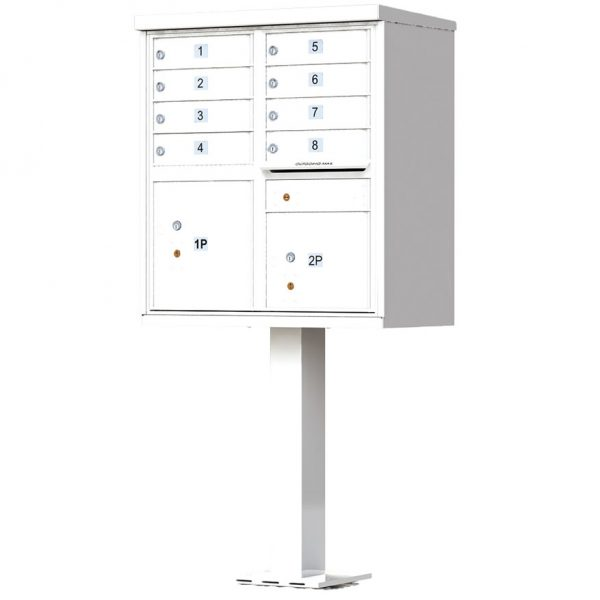 8 Door Florence Vital 1570-8 Series USPS Approved (CBU) Cluster Mailboxes with Pedestal White