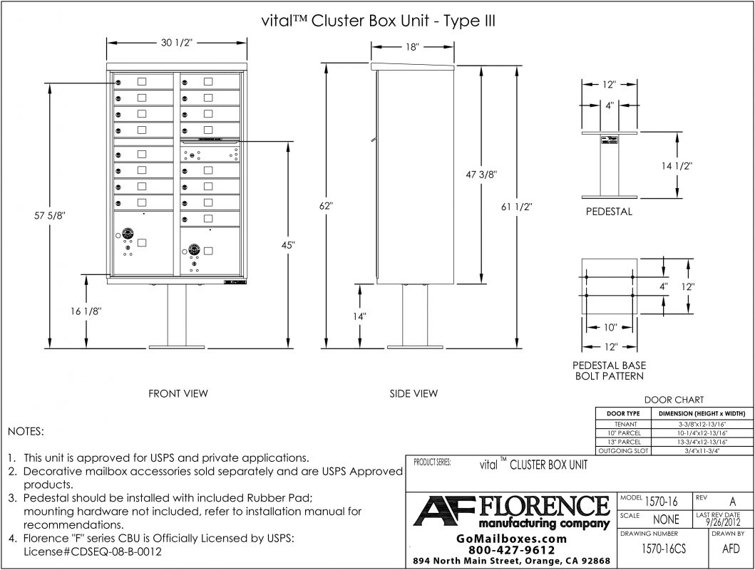 Florence-16-Door-CBU-Product-Dimensions