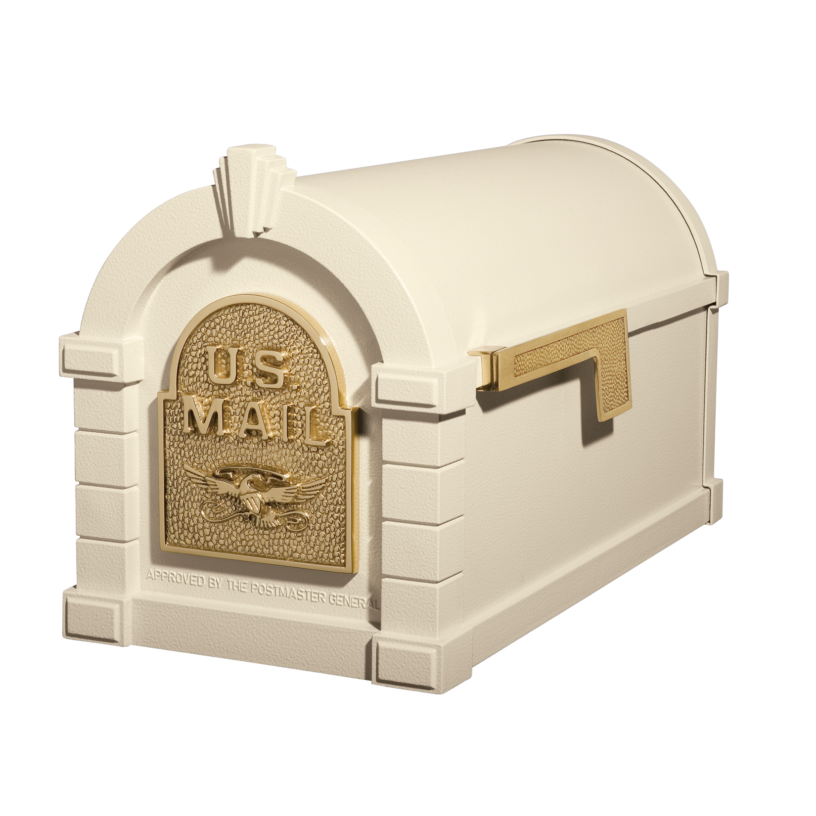 Gaines Eagle Keystone Mailboxes - Almond with Polished Brass