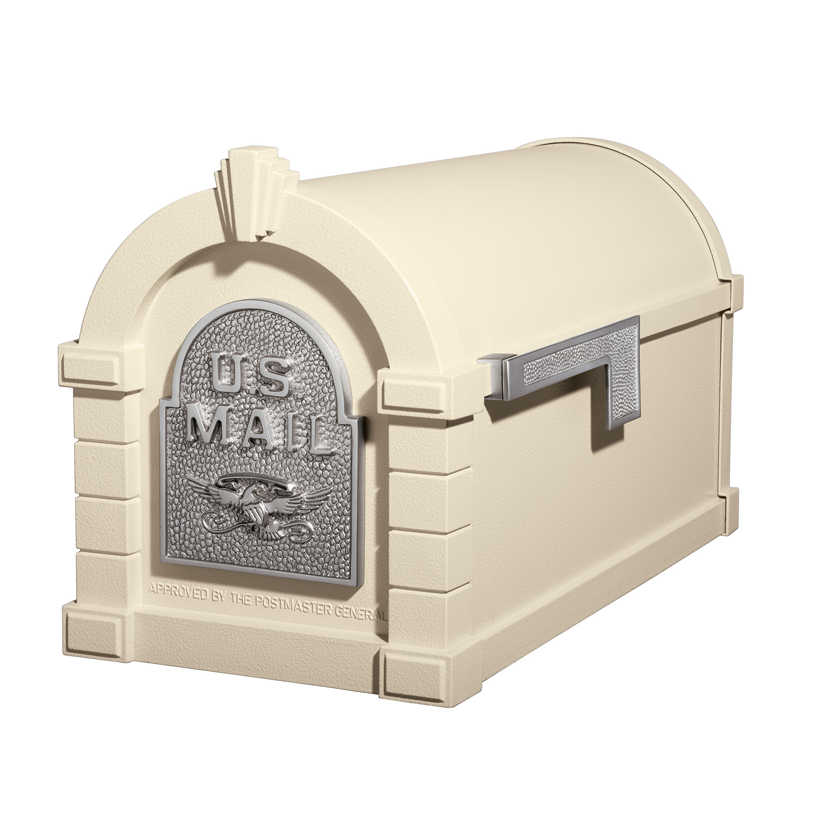 Gaines Eagle Keystone Mailboxes - Almond with Satin Nickel