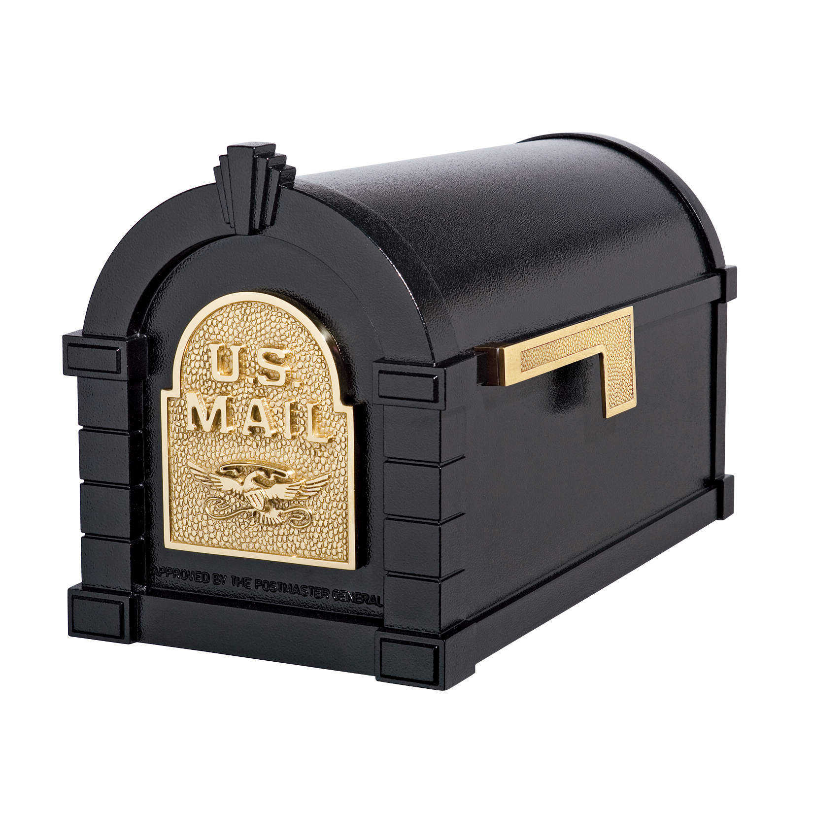 Gaines Eagle Keystone Mailboxes<br />Black with Polished Brass