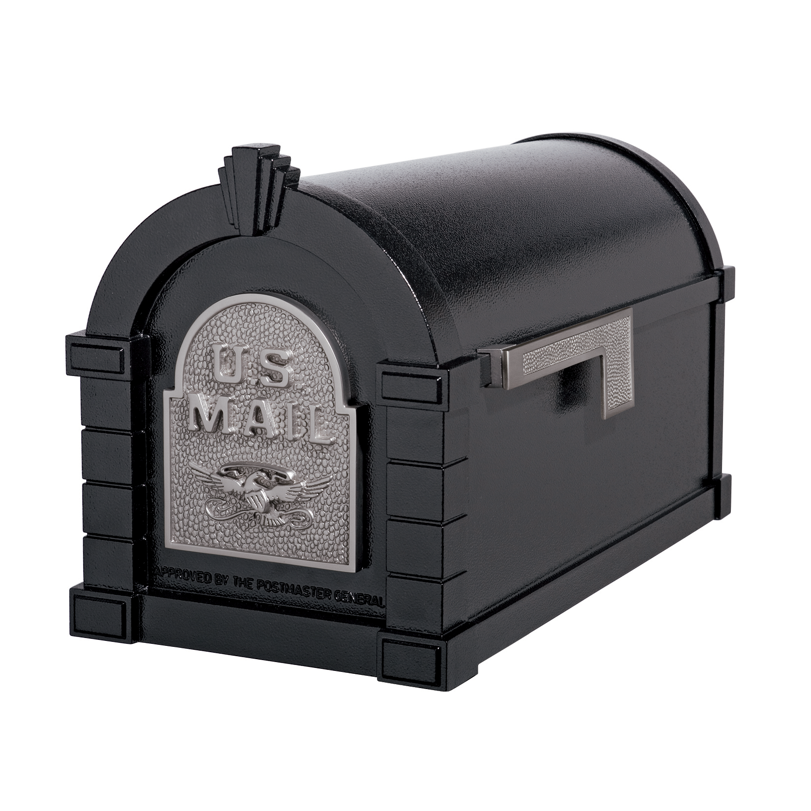 Gaines Eagle Keystone Mailboxes - Black with Satin Nickel
