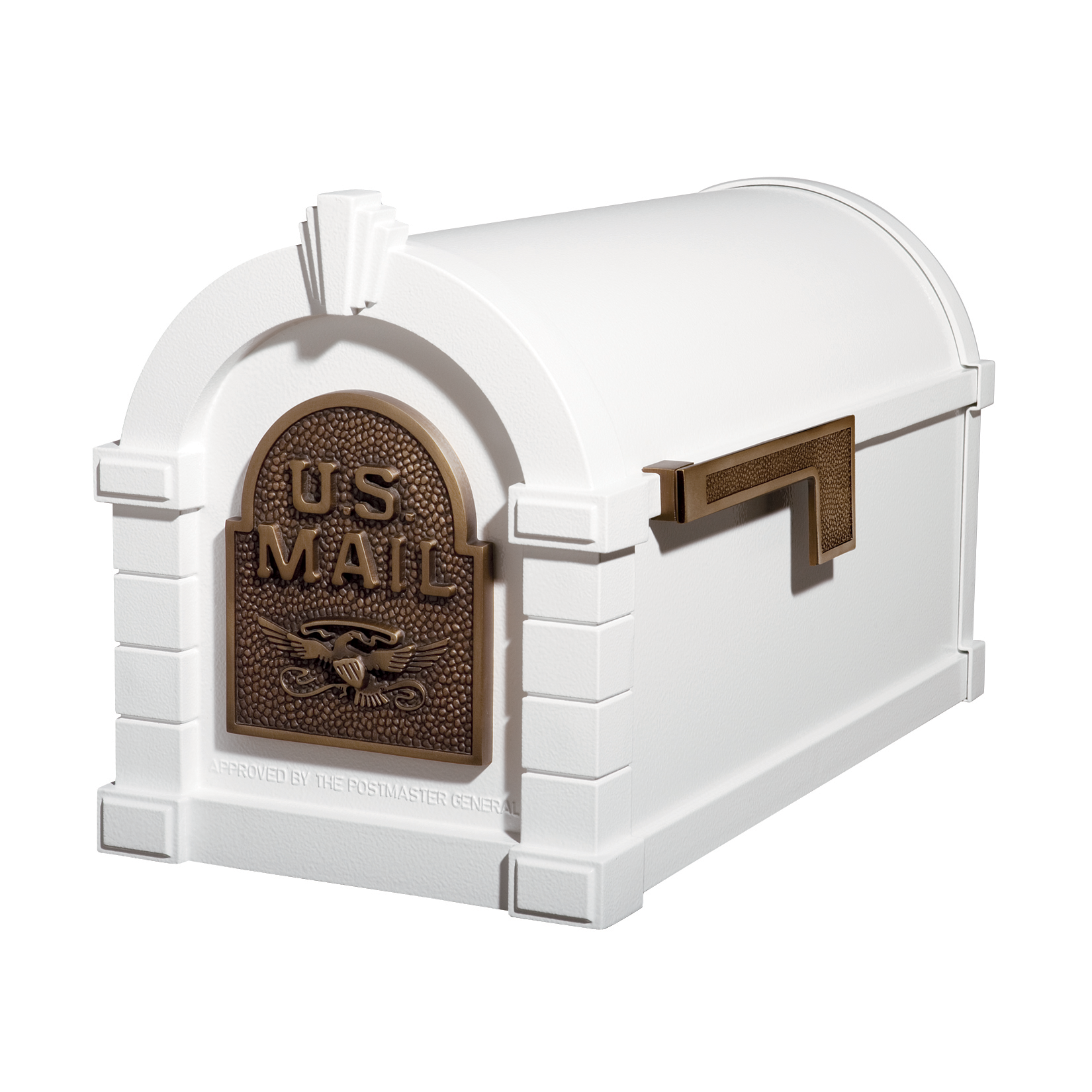 Gaines Eagle Keystone Mailboxes White with Antique Bronze