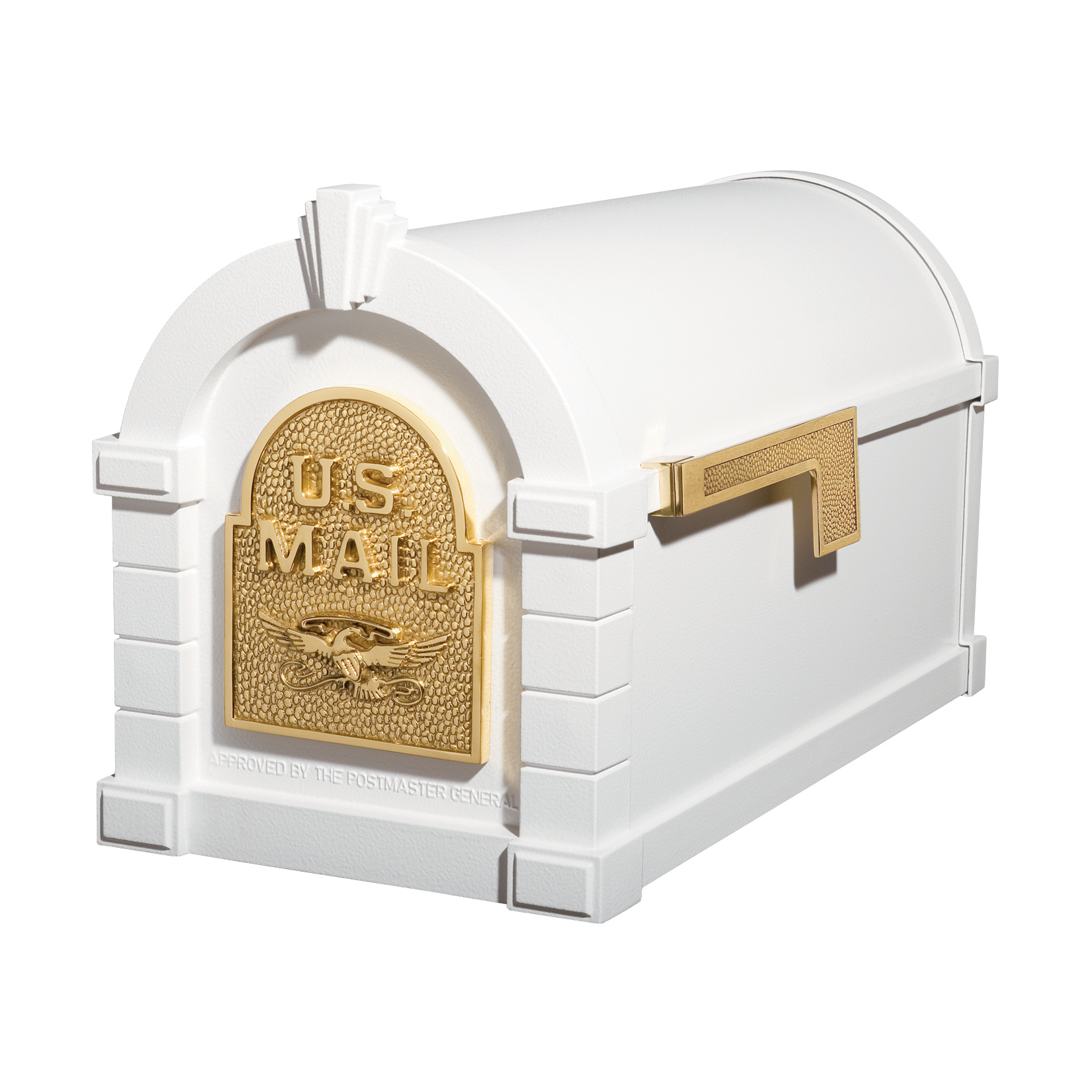 Gaines Eagle Keystone Mailboxes - White with Polished Brass