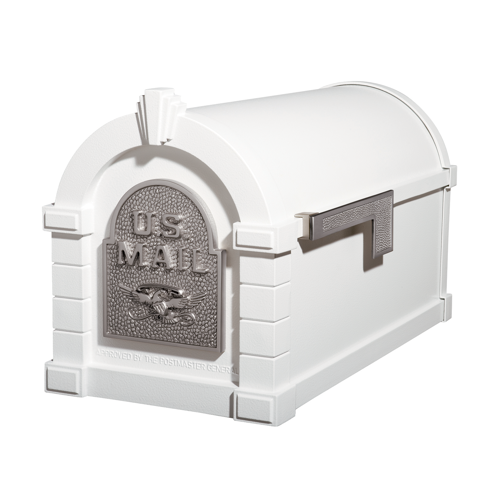 Gaines Eagle Keystone Mailboxes - White with Satin Nickel