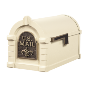 Gaines Fleur De Lis Keystone Mailboxes - Almond with Antique Bronze