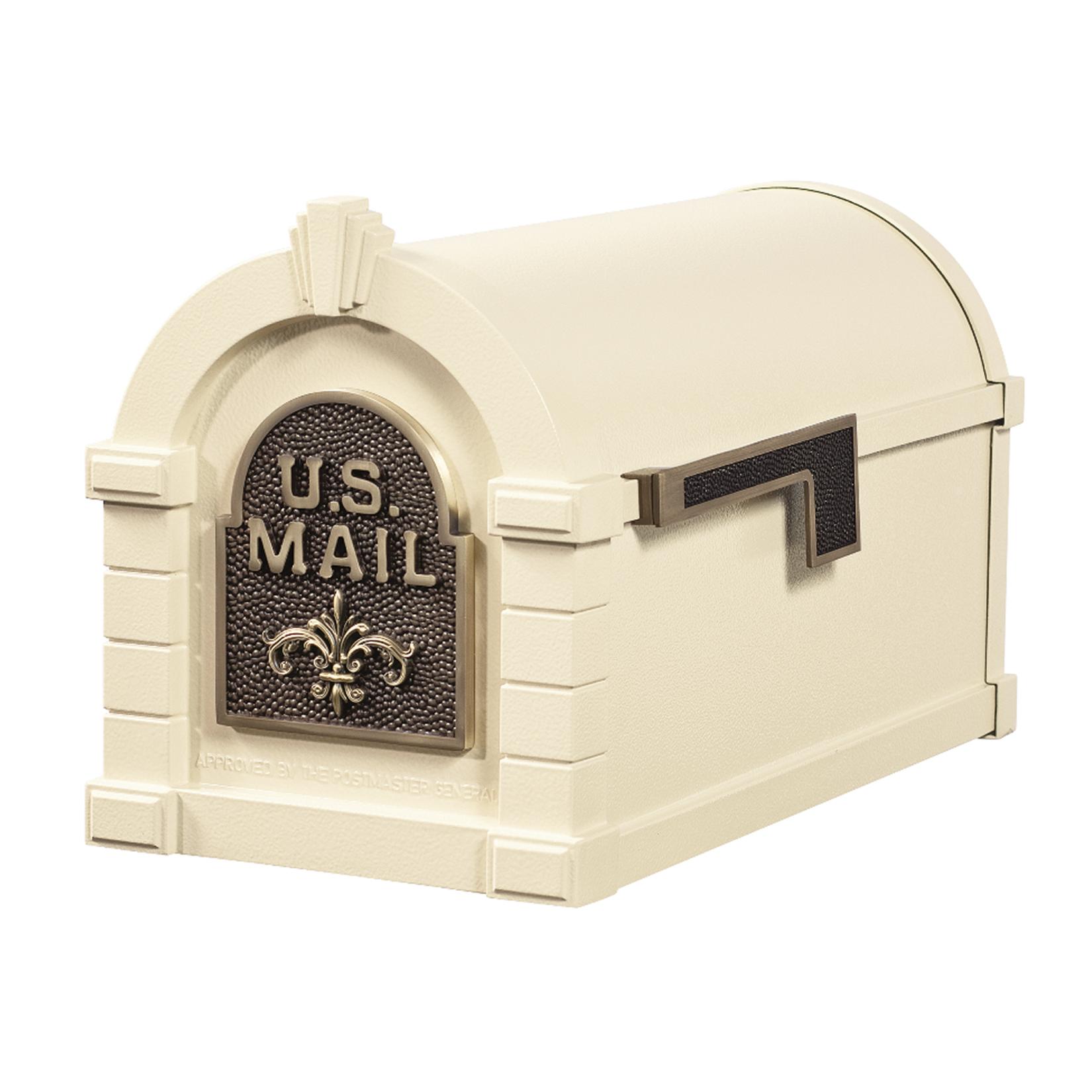 Gaines Fleur De Lis Keystone Mailboxes - Almond with Antique Bronze