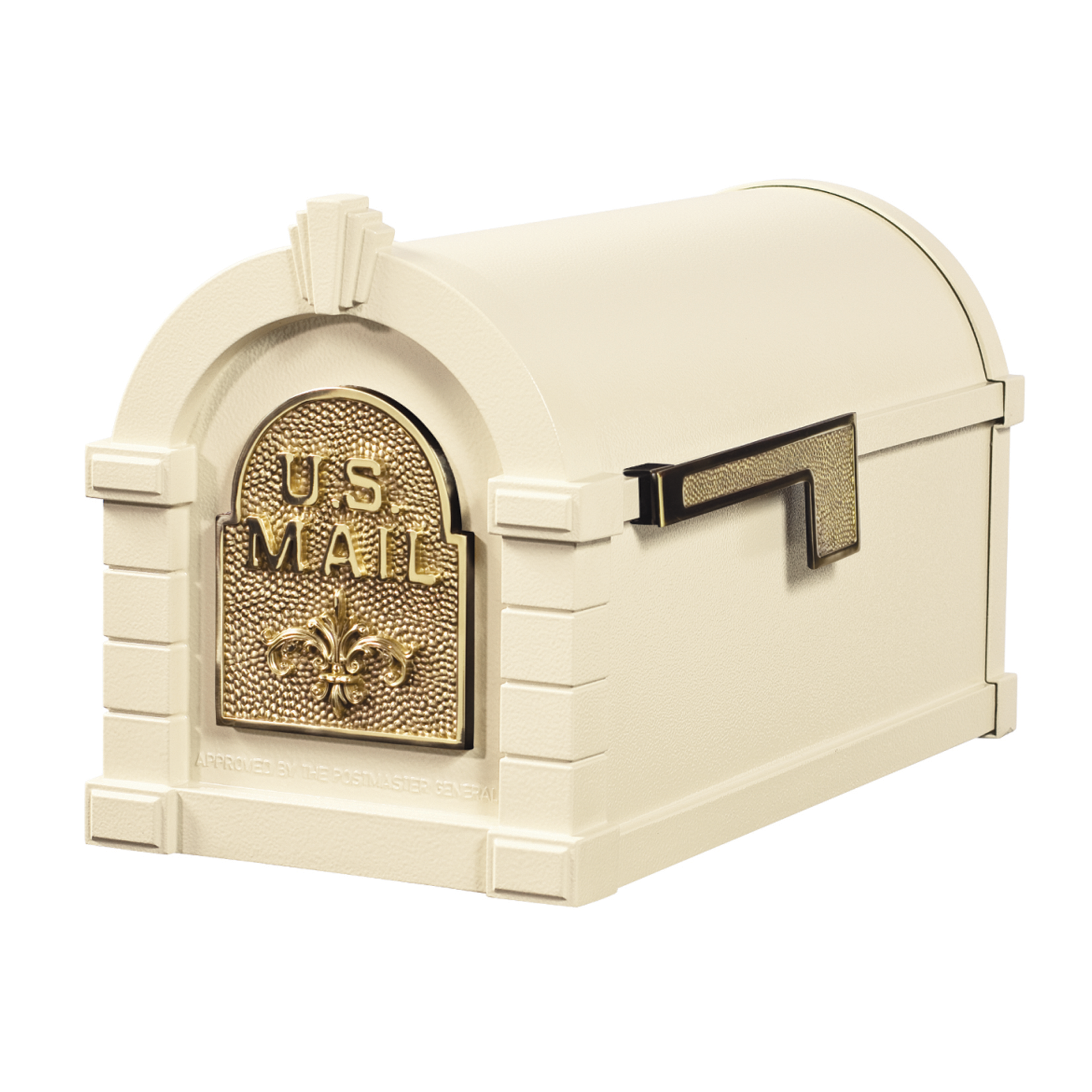 Gaines Fleur De Lis Keystone Mailboxes - Almond with Polished Brass