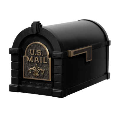 Gaines Fleur De Lis Keystone MailboxesBlack with Antique Bronze