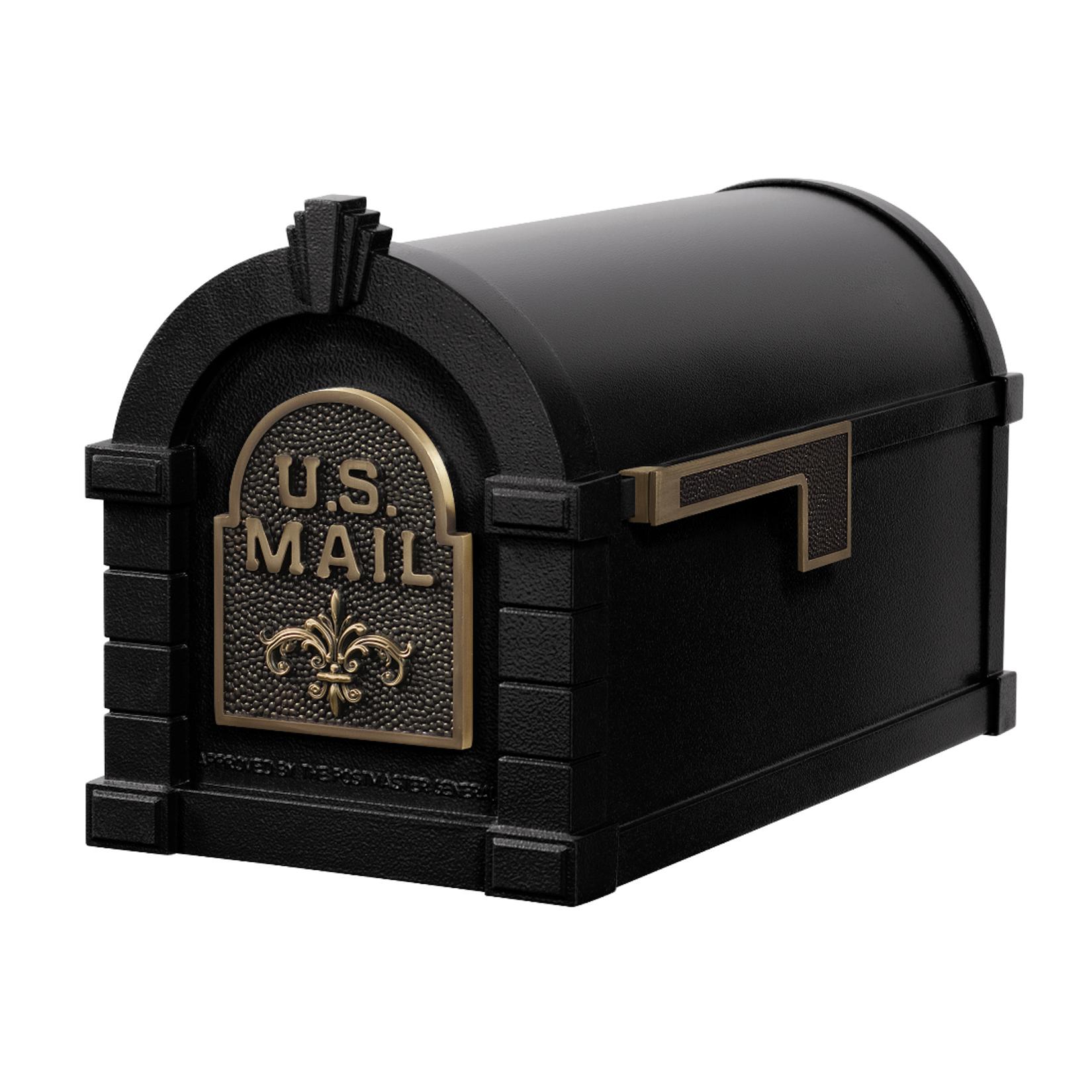 Gaines Fleur De Lis Keystone Mailboxes - Black with Antique Bronze