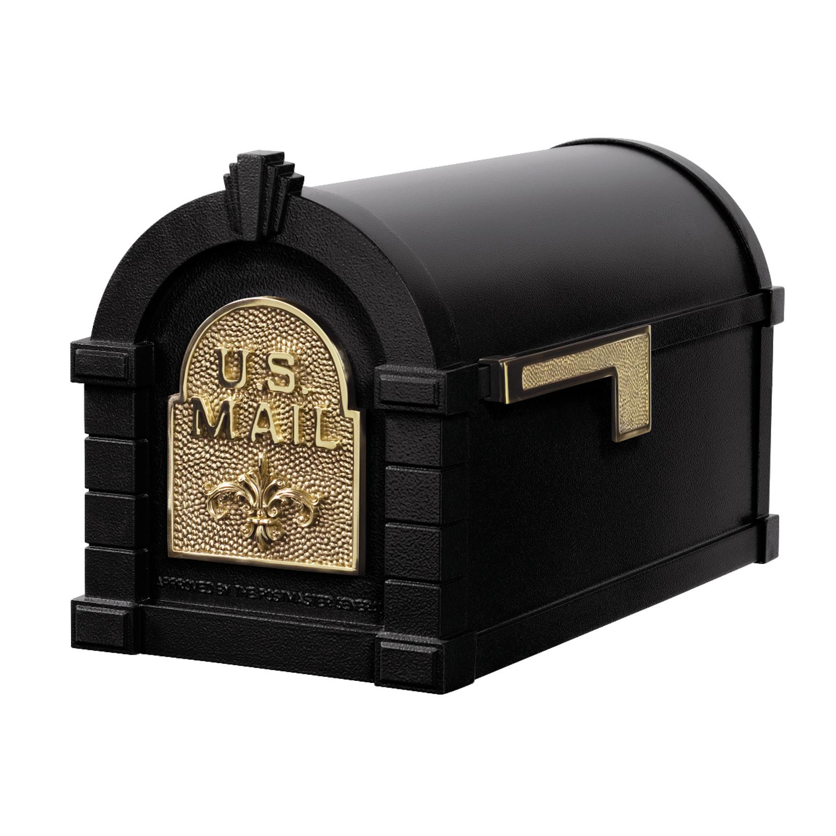 Gaines Fleur De Lis Keystone Mailboxes - Black with Polished Brass