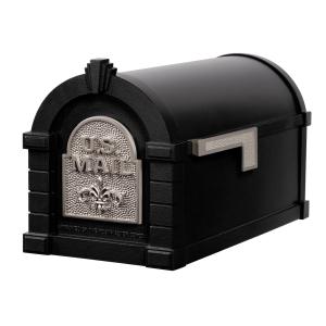 Gaines Fleur De Lis Keystone MailboxesBlack with Satin Nickel
