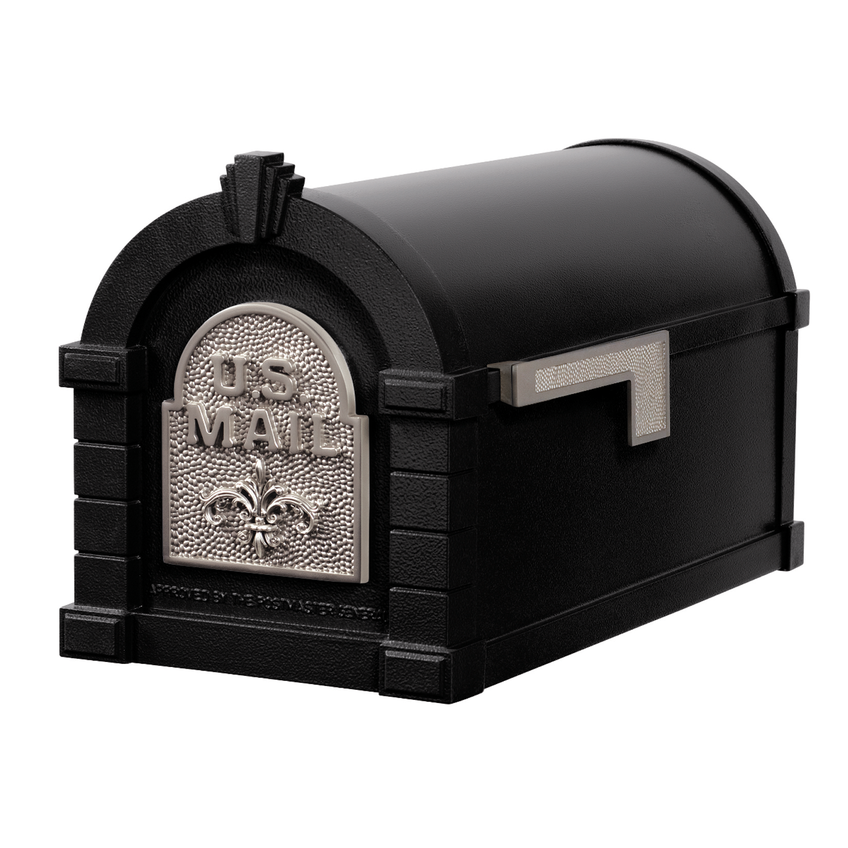Gaines Fleur De Lis Keystone Mailboxes, Black with Satin Nickel