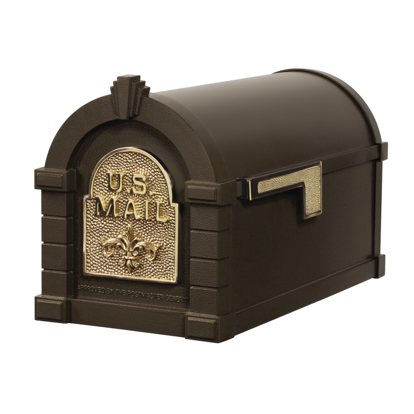 Gaines Fleur De Lis Keystone Mailboxes - Bronze with Polished Brass