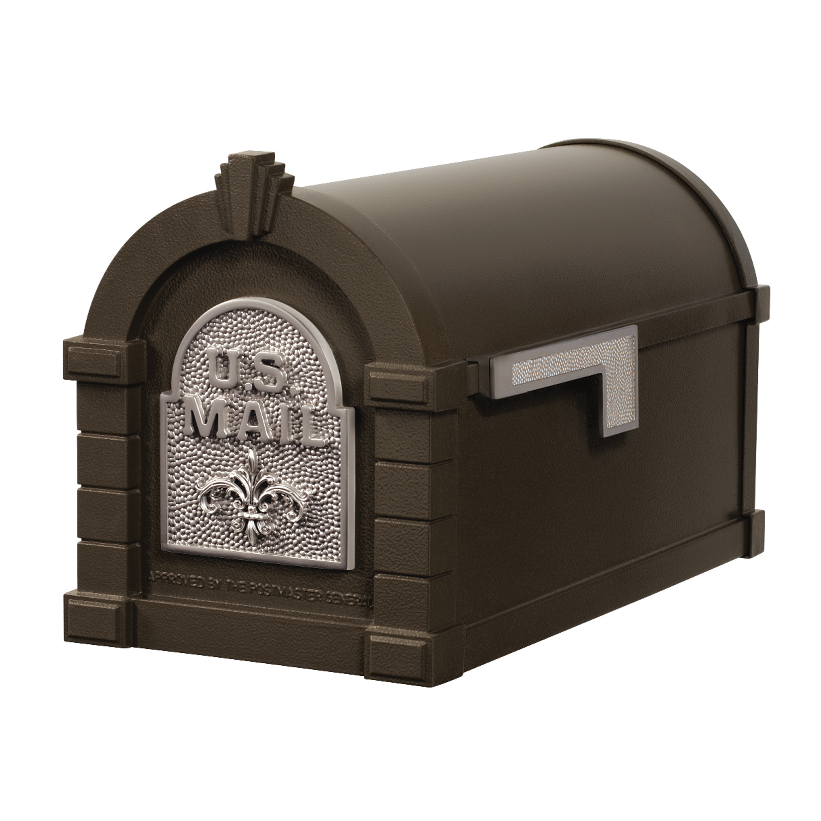 Gaines Fleur De Lis Keystone Mailboxes - Bronze with Satin Nickel