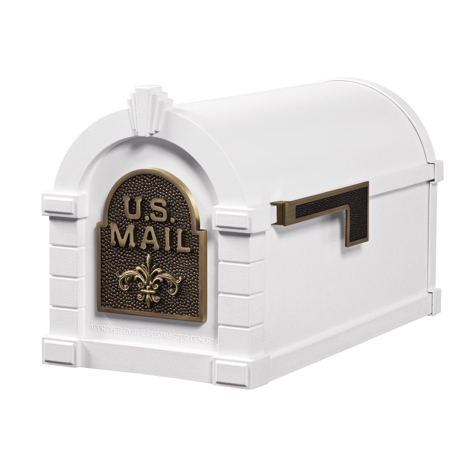 Gaines Fleur De Lis Keystone MailboxesWhite with Antique Bronze