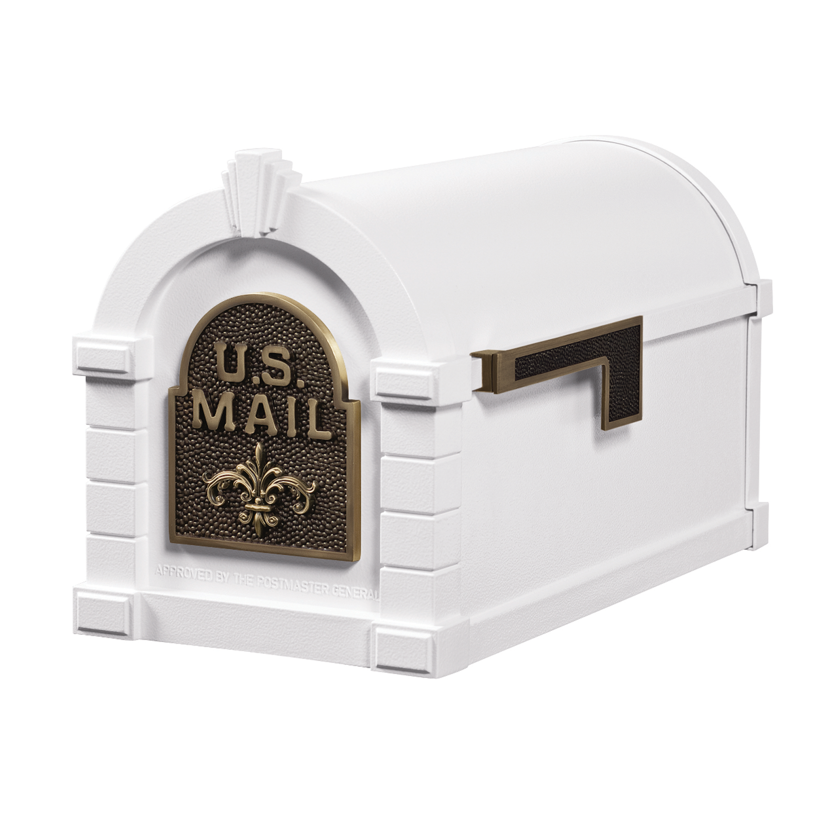 Gaines Fleur De Lis Keystone Mailboxes - White with Antique Bronze