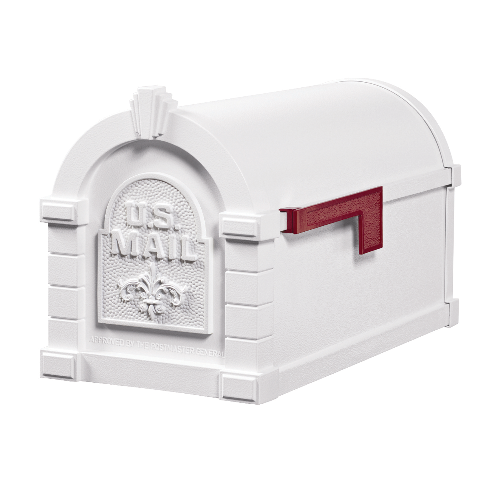 Gaines Fleur De Lis Keystone Mailboxes, All White