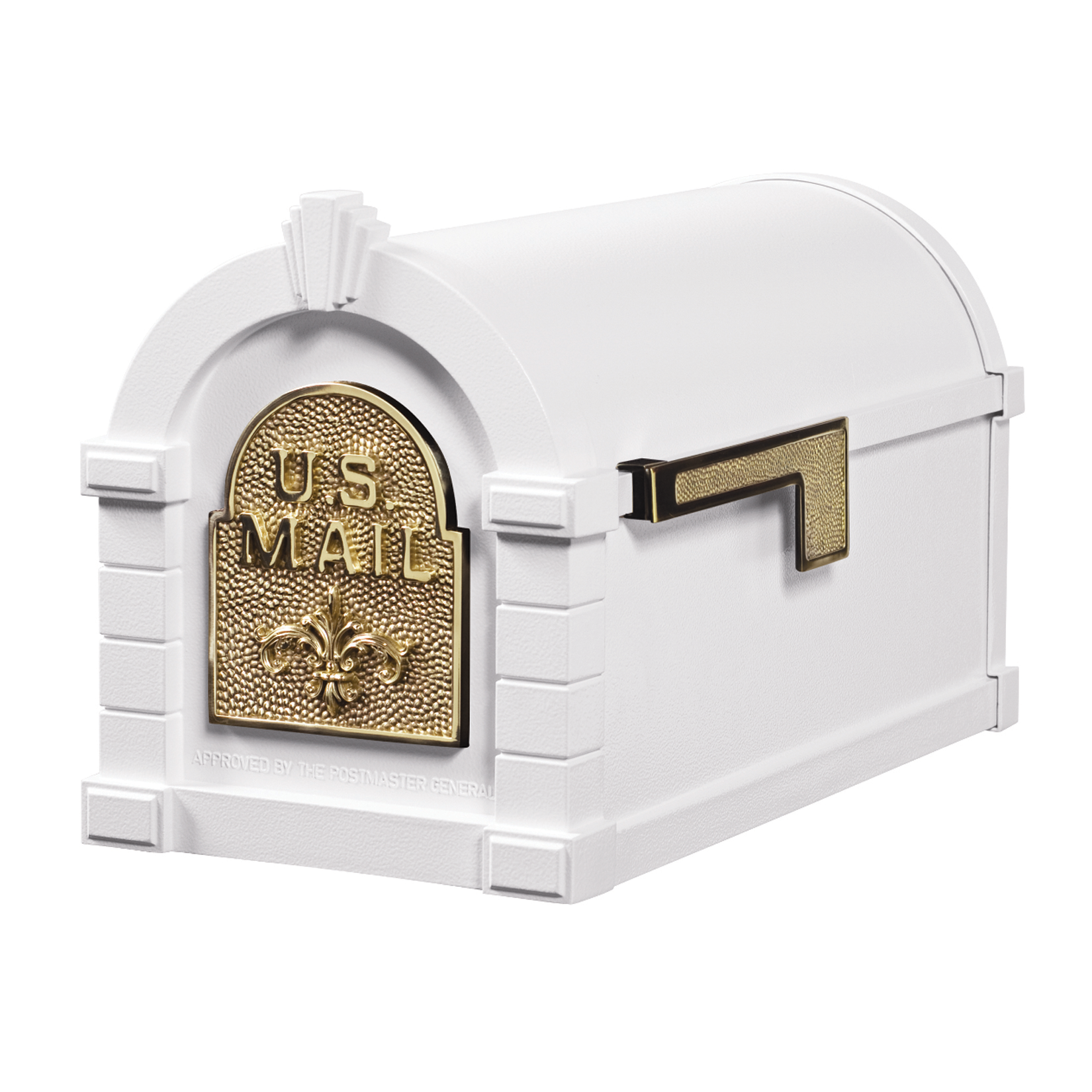 Gaines Fleur De Lis Keystone Mailboxes - White with Polished Brass