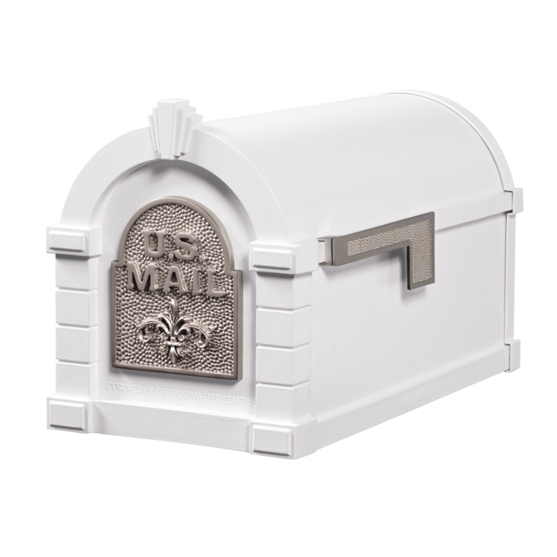 Gaines Fleur De Lis Keystone Mailboxes - White with Satin Nickel