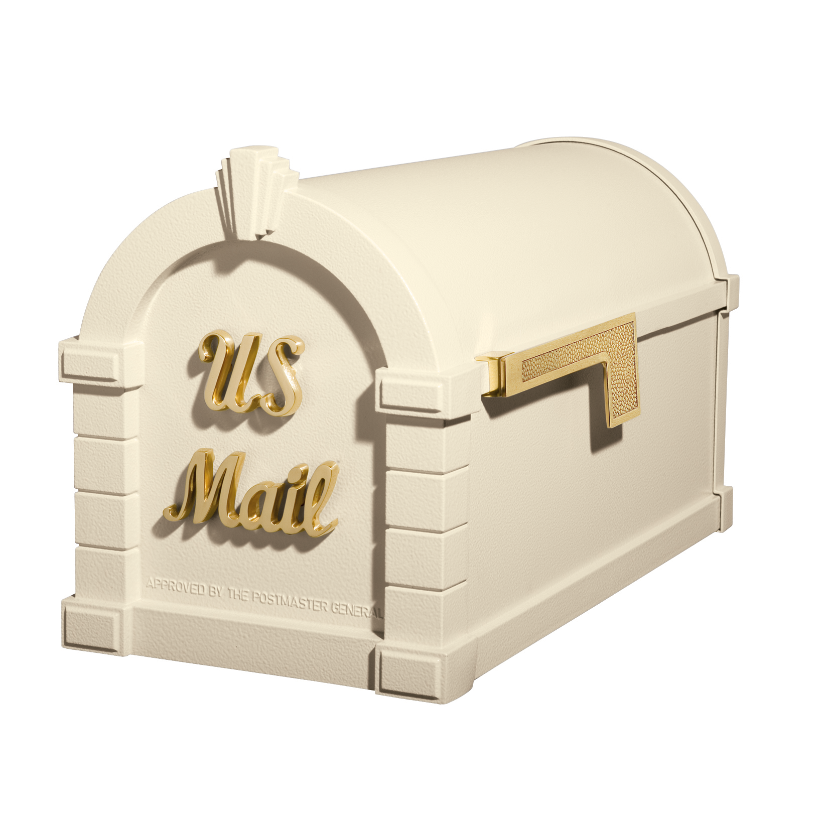 Gaines Signature Keystone Mailboxes - Almond with Polished Brass