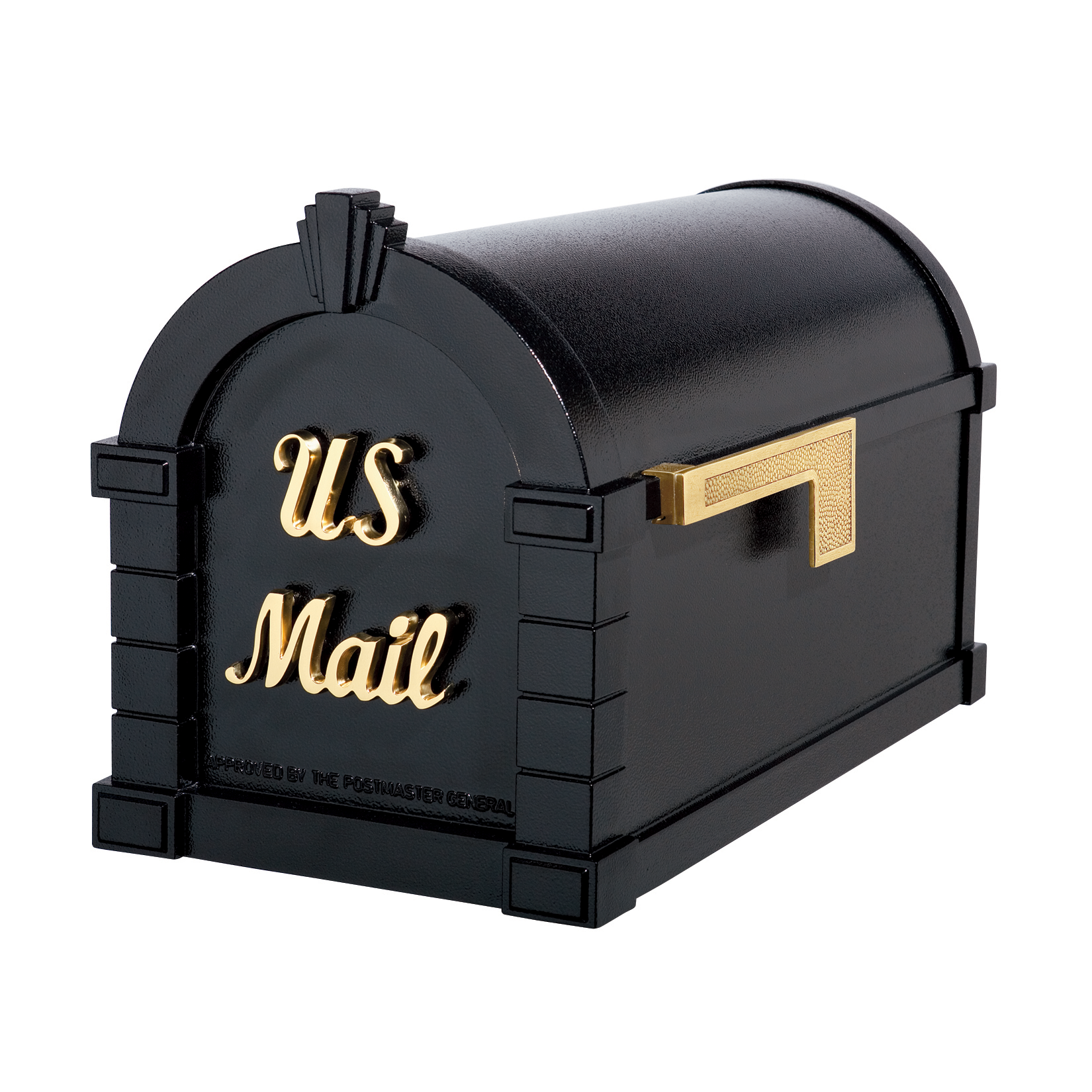 Gaines Signature Keystone Mailboxes - Black with Polished Brass