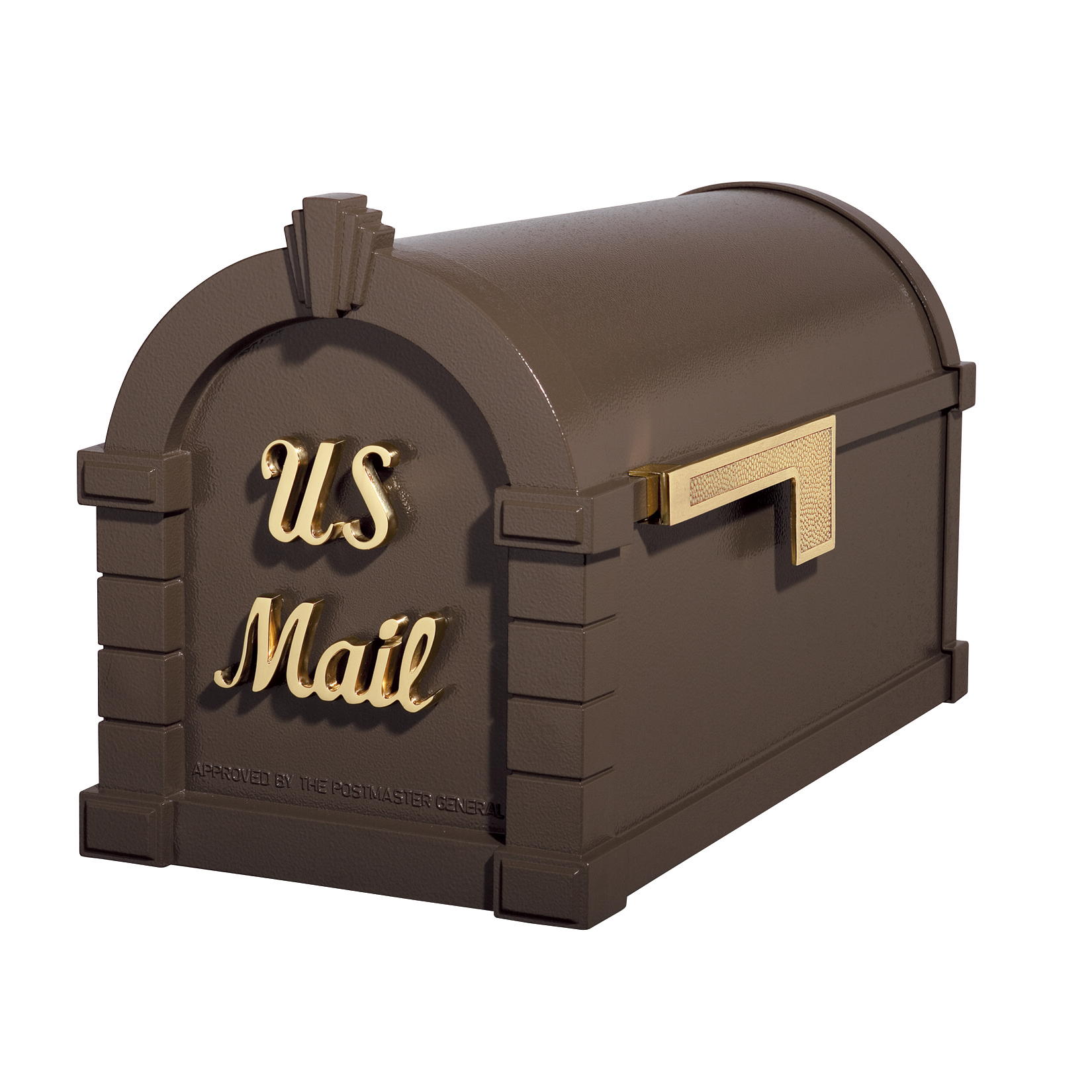 Gaines Signature Keystone Mailboxes - Bronze with Polished Brass