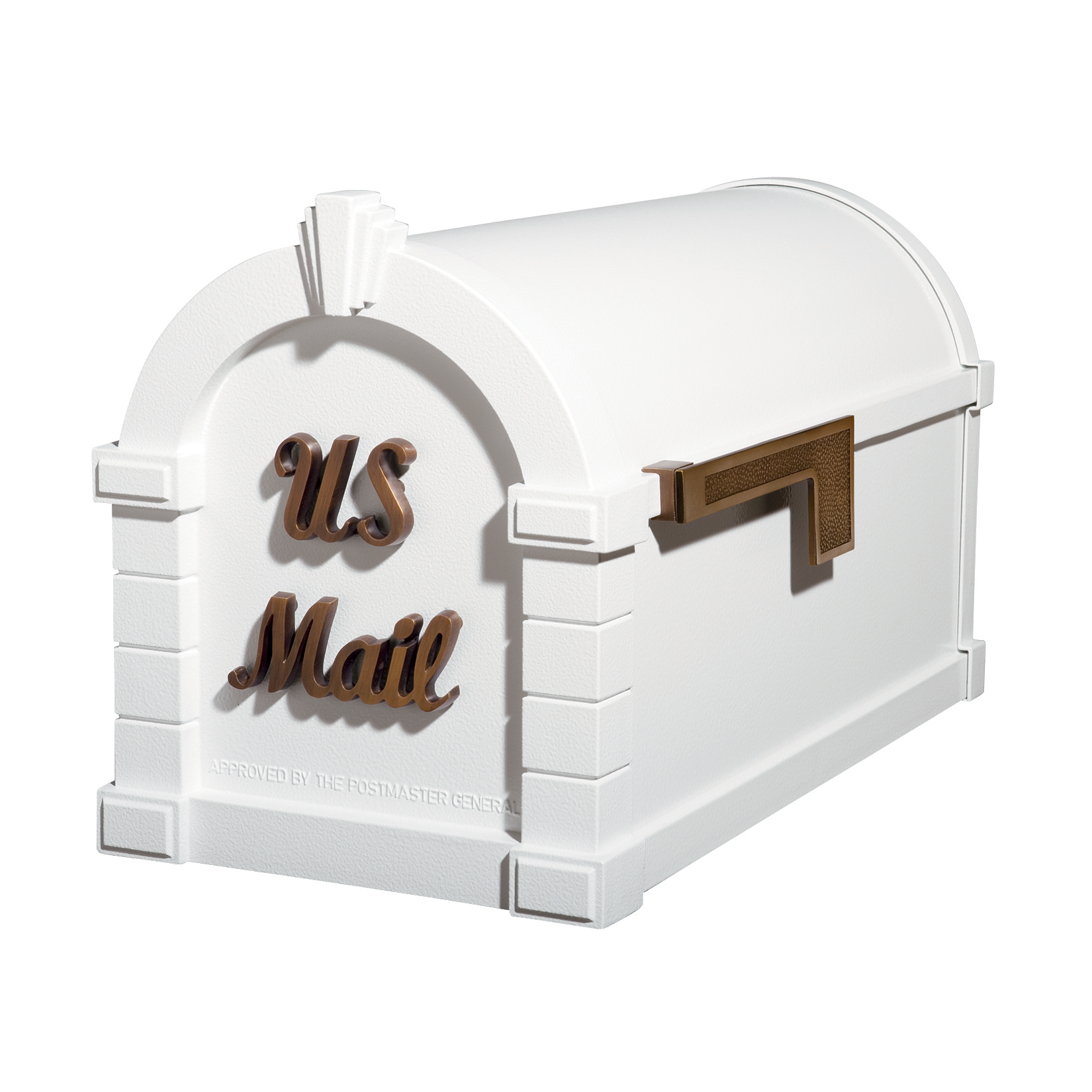 Gaines Signature Keystone Mailboxes - White with Antique Bronze