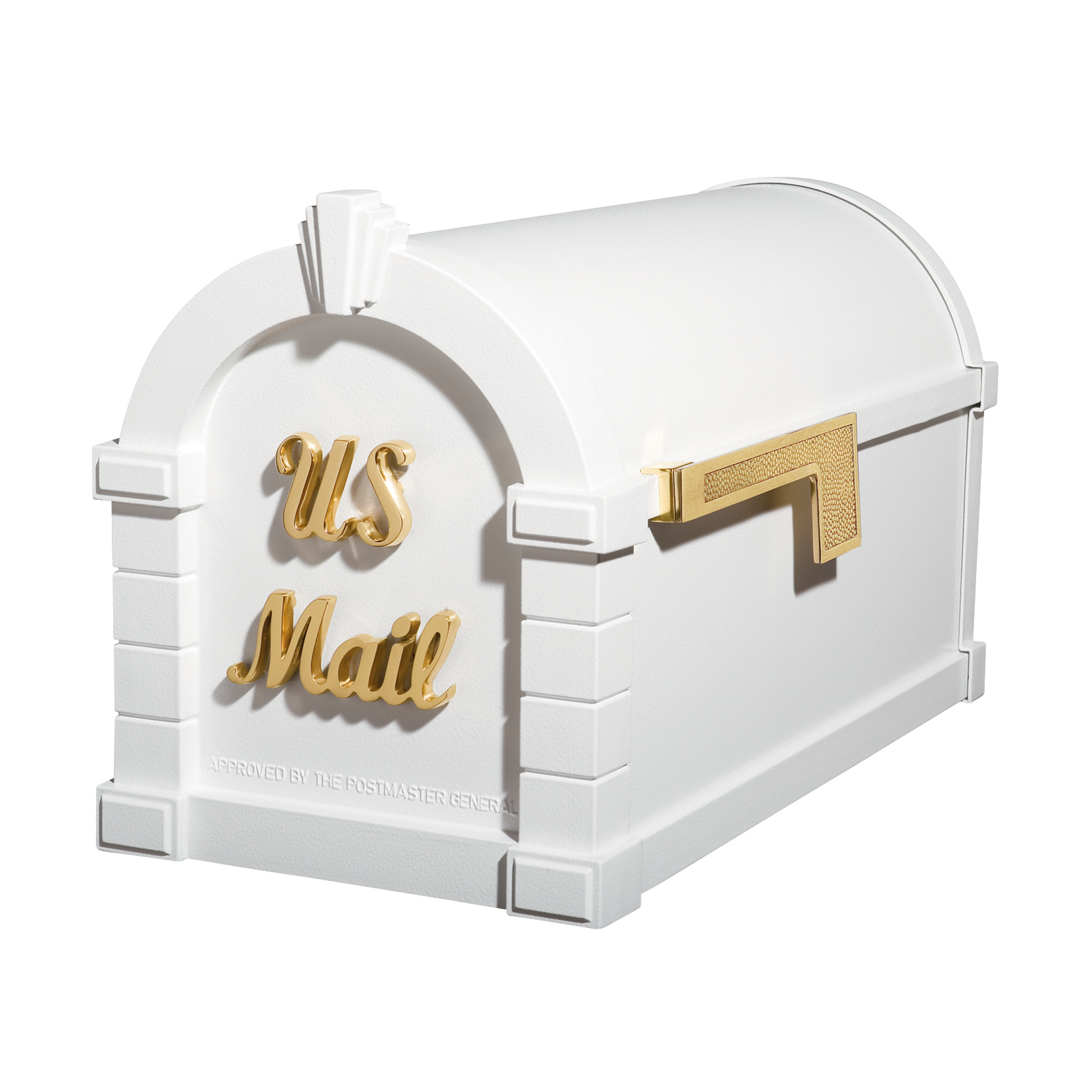 Gaines Signature Keystone Mailboxes - White with Polished Brass