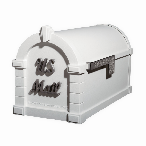 Gaines Signature Keystone MailboxesWhite with Satin Nickel