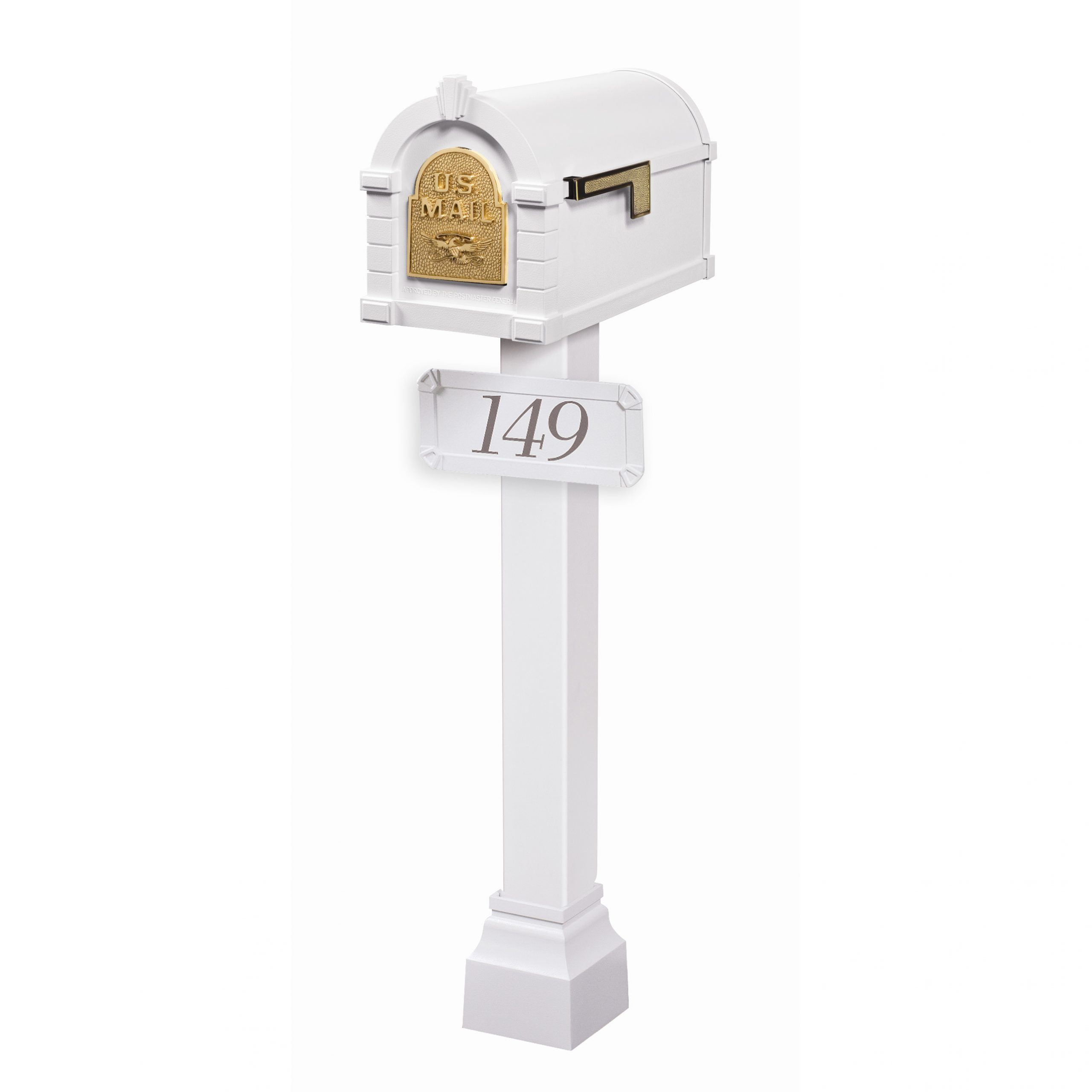 Gains Eagle Keystone Mailbox with Standard Post White