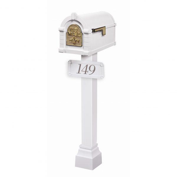 Gaines Fleur De Lis Keystone mailbox with Standard Post White