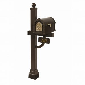 Gaines Fleur De Lis Keystone Mailbox with Deluxe Post