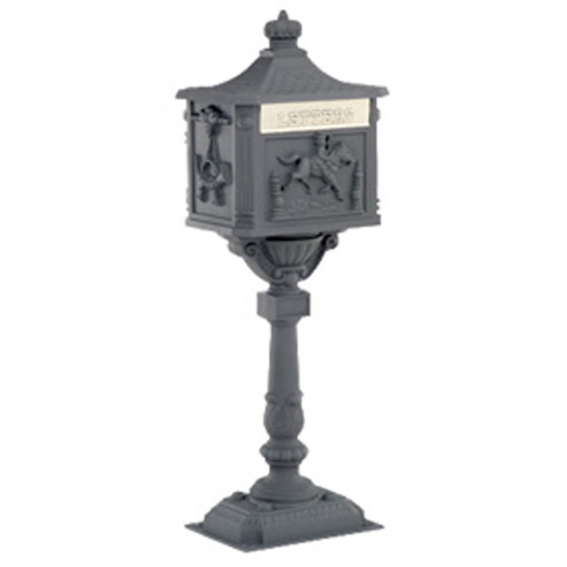Amco Victorian mailbox with Post black