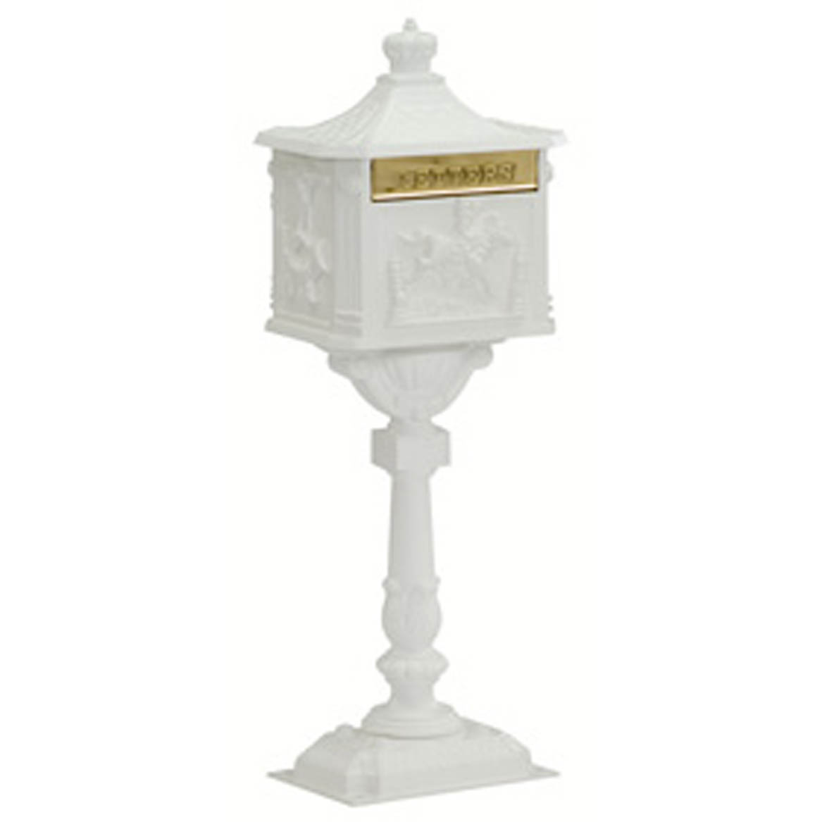 White Amco Locking Victorian Mailbox with Post