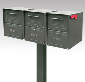 3 Large Oasis Mailboxes with Post