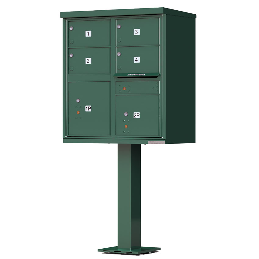4 Door Florence Vital 1570-4T5 Series USPS Approved (CBU) Cluster Mailboxes with Pedestal Grey