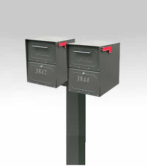 2 Mailboxes with Post