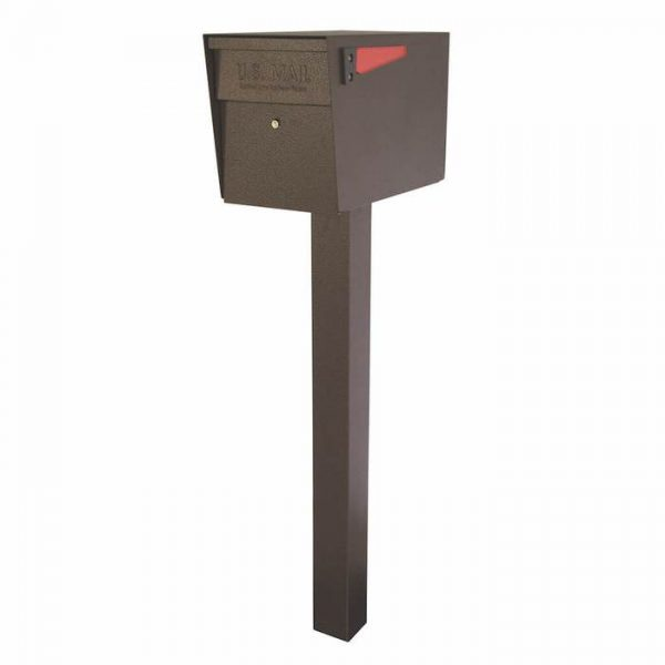 Mail Boss High Security Mailbox with Post Bronze Flag Down
