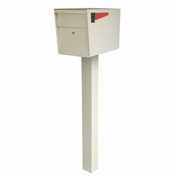 Mail Boss High Security Mailbox with Post White Flag Down