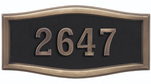 Address Plaque with Black Background and Antique Bronze Frame and Numbers