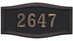 Address Plaque with Black Background and Frame with Antique Bronze Numbers