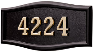 Address Plaque with Black Background and Frame with Polished Brass Numbers