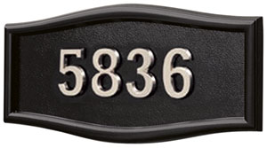Address Plaque with Black Background and Frame with Satin Nickel Numbers