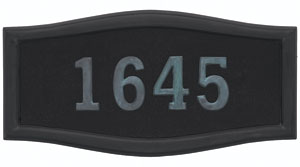 Address Plaque with Black Background and Frame with Verde Brass Numbers