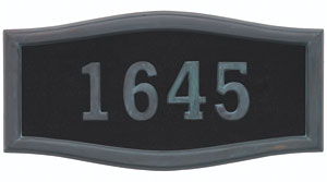 Address Plaque with Black Background with Verde Brass Frame and Numbers