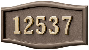 Address Plaque with Bronze Background and Frame with Polished Brass Numbers