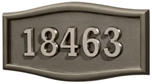 Address Plaque with Bronze Background and Frame with Satin nichel Numbers